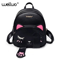 Cat bag Students Pu backpack for teenagers girls Back Pack School Backpacks Funny Preppy Leather Shoulder Travel bag 2017 XA531B