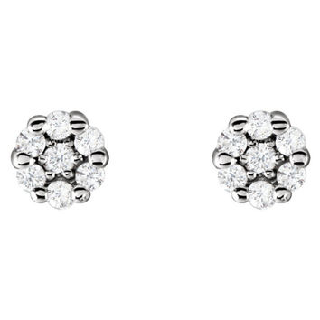 14k White Gold Round White Genuine Diamond Sl1 Stud Earrings
