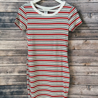 Striped Ribbed Ringer Tee Dress (Red)
