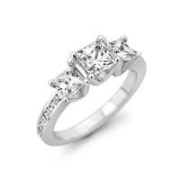 1-1/4 CT. T.W. Princess-Cut Diamond Three Stone Ring in 14K White Gold