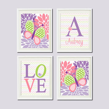Lavender Violet Lilac Nursery Decor BUTTERFLY Baby Girl Monogram Name Birdie Flower Love Set of 4 Prints Baby Pink Nursery Decor Wall Art