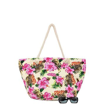 Oversized hibiscus palm leaf print tote bag