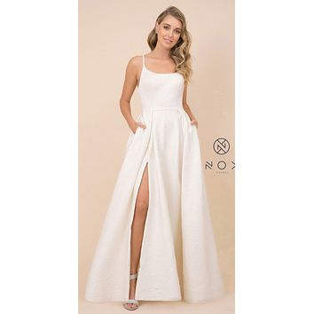 Long Prom Dress with Pockets and Slit Cream
