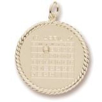 Calendar Rope Frame Charm In Yellow Gold