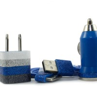 Glitter iphone charger - Blue stripes - includes usb cable, wall & car charger