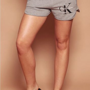 Calvin Klein Grey Heather CK Logo Sweatshorts