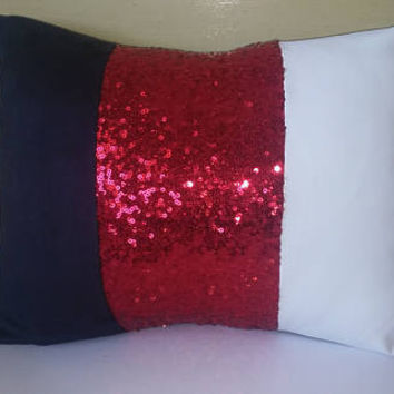 Red Shiny Sequins Luxury Lumbar Pillow Cover