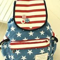Cute Sweet Retro American Flag Strip Star Backpack from perfectmall