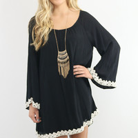 Romantic Dreamer Black Crepe Swing Dress With Crochet Lace Trim