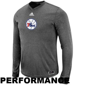 adidas Philadelphia 76ers Pre-Game Fitted Performance Long Sleeve T-Shirt - Gray