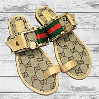 GUCCI Fashion New Red Green Stripe More Letter Print Slippers Flip Flop Shoes Women Khaki