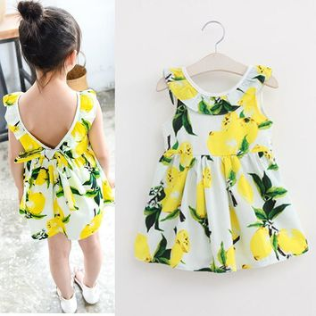 Fashion Summer Girl Dress Lemon Sleeveless Children Dress Ruffles Backless Kids Dresses for Girls Cute Girls Clothing