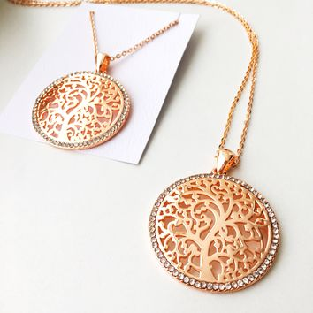 Tree of life necklace, family tree necklace, rose gold necklace, long chain necklace