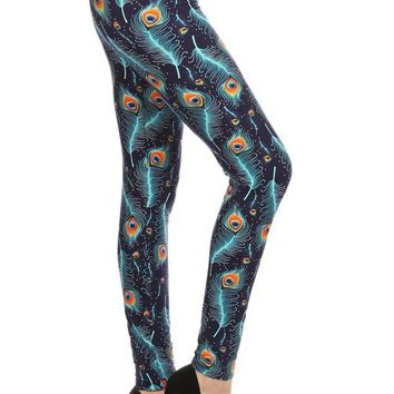 Women's Peacock Leggings Blue and Orange Feathers: OS/PLUS