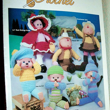 Crochet Cupie Dolls, Monkey Dolls, Little Red Riding Hood Dolls, Cow girl dolls, Pattern booklet