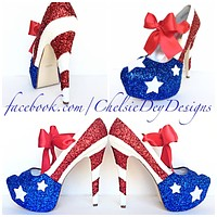 American Flag Glitter High Heels, USA Red White Blue Sparkly Pumps, Stars and Stripes Shoes