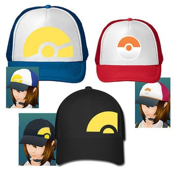 Pokemon Go Trainer Hats Cosplay Hat Girl Trainer Baseball Hat Trucker Hat
