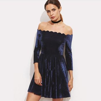 Fashion Off Shoulder Middle Sleeve Solid Color Ruffle Mini Dress