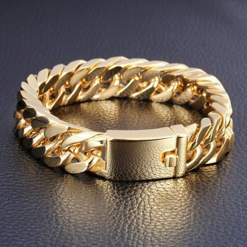 18K Gold Plated Stainless Steel Curb Chain Bracelet Men's Jewelry Heavy Style