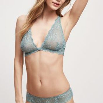 Samantha Chang Lace Racerback Bra in Blue Green Size: