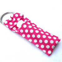 Pink and White Polka Dots Chapstick Keychain - Bright Pink Lip Balm Holder Cozy