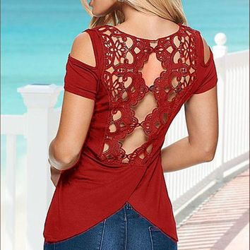 PEAPGB2 Casual Summer Sexy Women Blouses Lace Crochet Short Sleeve Off Shoulder Backless Hollow Out Tops Shirt Plus Size Mavodovama