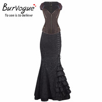 Burvogue Women Overbust Steampunk Corset Dress Summer Short Sleeves Long Length Corset Dress with Chain Gothic Corset Dress Set