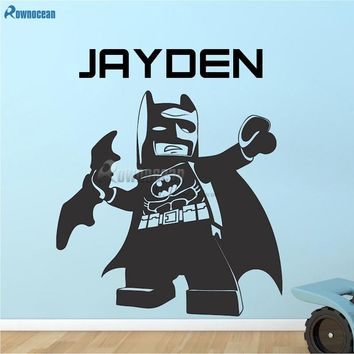Batman Dark Knight gift Christmas Cute Batman Wall Art Decals For Kids Bedroom Personlized Name Wallpaper Removable Vinyl Wall Stickers Home Decorations N23 AT_71_6