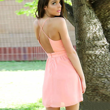 Women Sexy Sleeveless Deep V Neck BacklessSpaghetti Straps Solid Strappy Mini Sundress Dresses Pink/Fluorescent Green