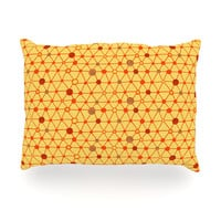 """Jane Smith """"Vintage Playground"""" Yellow Red Oblong Pillow"""