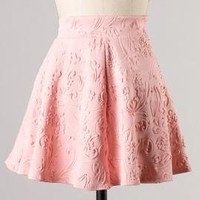 Object of Affection Swirl Embossed Mini Skater Skirt in Peachy Pink | Sincerely Sweet Boutique