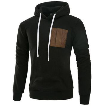 Hoodies Brand Men Leather Pocket Sweatshirt Male Hoody Hip Hop Autumn Winter Zipper Hoodie Mens Pullover