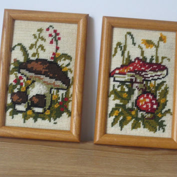 Vintage Mushrooms Needlepoint Wall Art- Framed and Ready to Hang