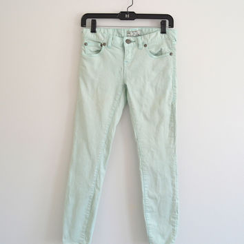 Cropped Mint Skinny Jeans (Free People)