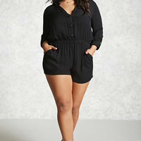 Plus Size Button-Front Romper