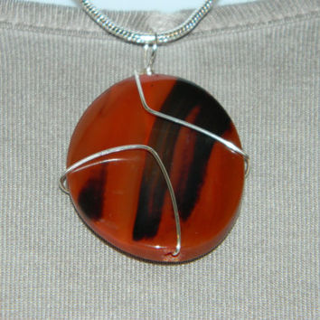 70ct. Mixed Brown Stone, Semi Precious, Agate, Pendant, Necklace, Oval, Natural Stone, 155-15