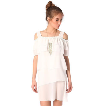 Multi layer mini dress in white