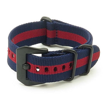 StrapsCo Navy Blue & Burgundy Stripe Ballistic Nylon Nato Zulu Watch Strap w/ Matte Black PRE-V Buckle size 18mm