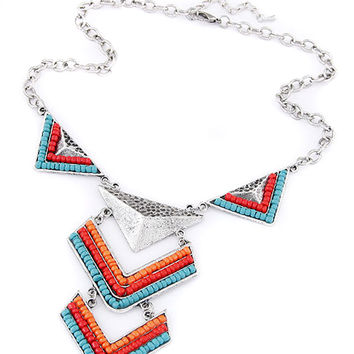 Blue Beaded Triangle Necklace