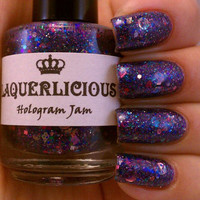 ON SALE Hologram Jam -  Purple Hologram Star Glitter Custom Handmade Indie Nail Polish