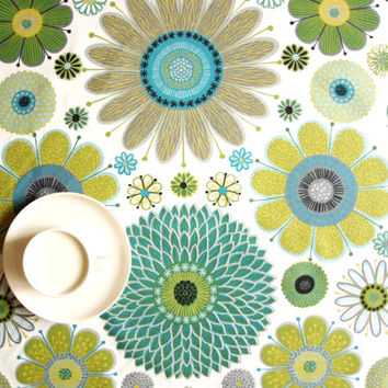 Tablecloth white teal mustard green flowers Floral Decor Scandinavian Design , runner , napkins , curtains , pillows available, great GIFT