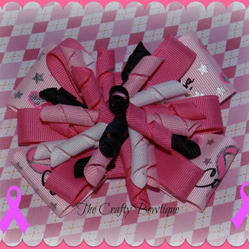 Pink Ribbon ~ Layered Korker Hair Bow ~ Hope, Love, and Courage ~ Breast Cancer Awareness ~ Big Hair Bow ~ Fancy Hair Bow ~ Bow for Headband
