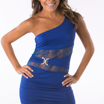 One shoulder Blue going out dresses