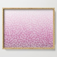 Gradient pink and white swirls doodles Serving Tray by savousepate