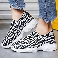 FENDI Fashion Women Breathable Knit Running Sport Shoes Sneakers White