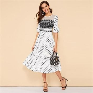 11fe8a2fc461 Polka Dot Ruffle Hem Vintage Style Bishop Sleeve Fit and Flare Dress