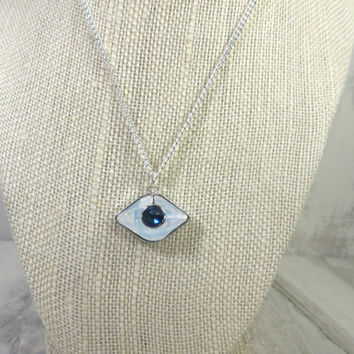 Evil Eye Necklace, Crystal Evil Eye Charm, Swarovski Elements Evil Eye Crystal Charm, Amulet, Good Luck Charm, Gift for Her