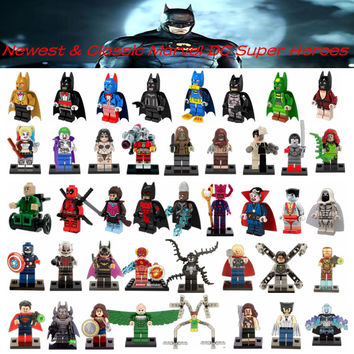 Single Sale DC Marvel Batman Avengers Super Heroes Deadpool Harley Quinn Collection Model & Building Toy For Children