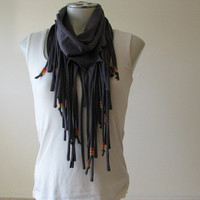 Charcoal Gray Jersey Fringe Scarf with beads, Infinity Scarf, pink, orange and yellow beads