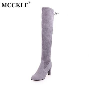 MCCKLE Winter Thigh High Boots Women Faux Suede Leather High Heels Over The Knee Botas
